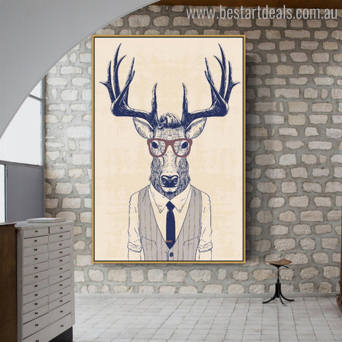 Formal Deer Modern Animal Painting Picture Print for Wall Ornamentation