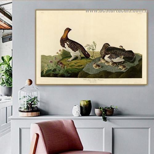 Willow Grouse John James Audubon Bird Landscape Ornithologist Reproduction Portrait Image Canvas Print for Room Wall Ornament