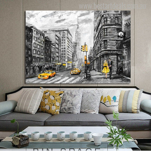New York Town Cityscape Contemporary Painting Picture Print for Living Room Wall Onlay