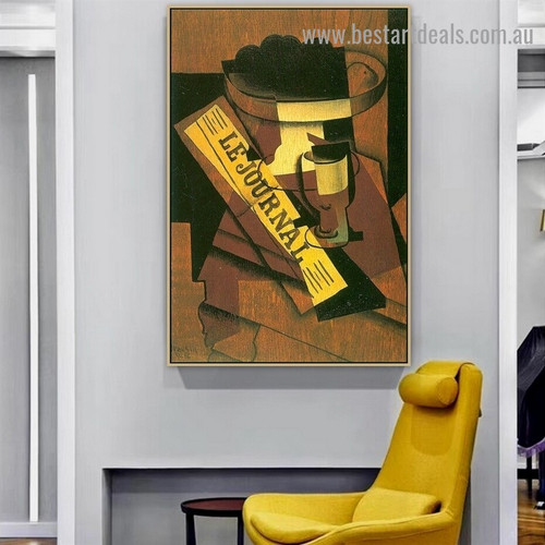 Fruit Dish Glass and Newspaper Juan Gris Still Life Typography Synthetic Cubism Reproduction Portrait Image Canvas Print for Room Wall Adornment