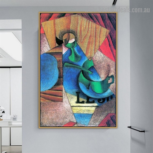 Glass Cup and Newspaper Juan Gris Still Life Typography Synthetic Cubism Reproduction Artwork Portrait Canvas Print for Room Wall Decoration