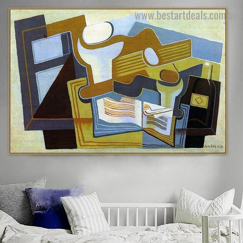 Guitar and Fruit Dish Juan Gris Still Life Music Synthetic Cubism Reproduction Portrait Painting Canvas Print for Room Wall Garniture