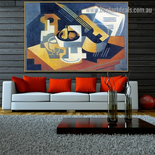 Guitar and Fruit Bowl on a Table Juan Gris Still Life Music Cubism Reproduction Artwork Image Canvas Print for Room Wall Decoration