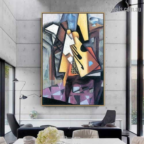 Guitar on a Chair Juan Gris Still Life Synthetic Cubism Reproduction Portrait Painting Canvas Print for Room Wall Decoration