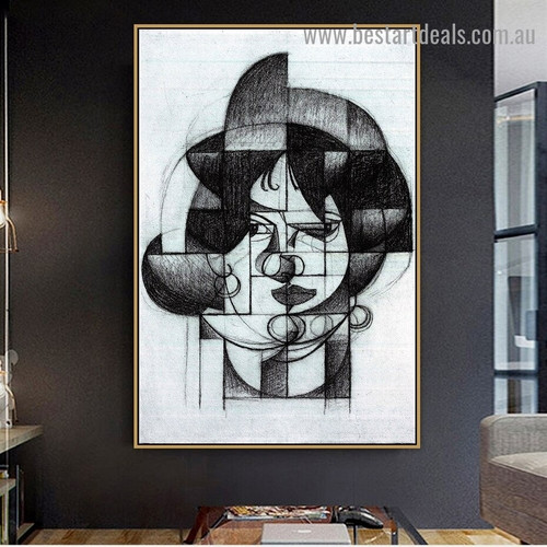 Head of Germaine Raynal Juan Gris Figure Analytical Cubism Reproduction Artwork Portrait Canvas Print for Room Wall Drape