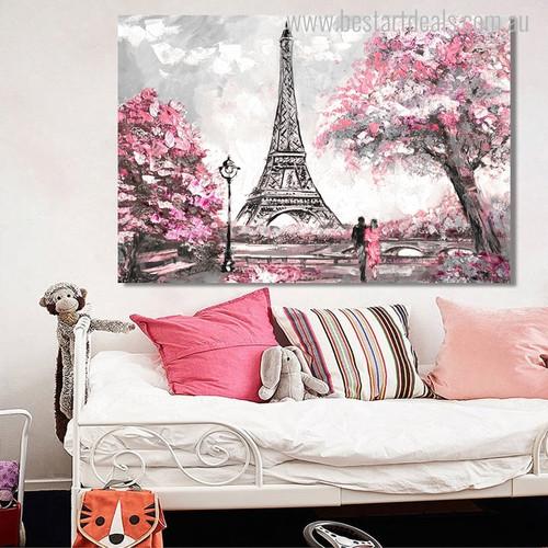 Paris Town Cityscape Contemporary Canvas Artwork Portrait Print for Room Wall Drape