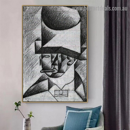 Head of a Man with Cigar Juan Gris Figure Cubism Reproduction Artwork Image Canvas Print for Room Wall Garnish