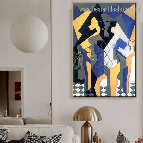 Harlequin at a Table Juan Gris Abstract Synthetic Cubism Reproduction Artwork Image Canvas Print for Room Wall Garniture
