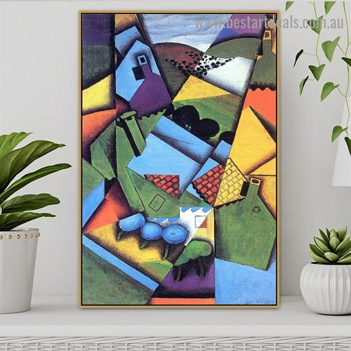 Landscape with House at Ceret Juan Gris Synthetic Cubism Reproduction Portrait Photo Canvas Print for Room Wall Garniture