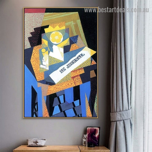 Newspaper and Fruit Dish Juan Gris Still Life Synthetic Cubism Reproduction Artwork Photo Canvas Print for Room Wall Drape