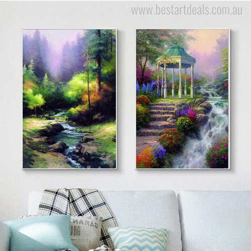 Creekside and Gazebo Mix Artist Reproduction Painting Canvas Print for Wall Decor