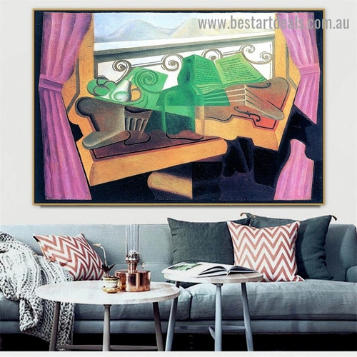 Open Window with Hills Juan Gris Still Life Synthetic Cubism Reproduction Artwork Photo Canvas Print for Room Wall Garniture