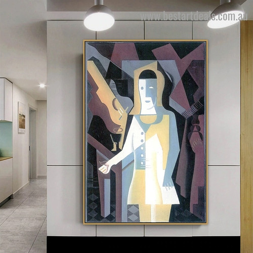 Pierrot Juan Gris Abstract Figure Synthetic Cubism Reproduction Artwork Picture Canvas Print for Room Wall Ornament