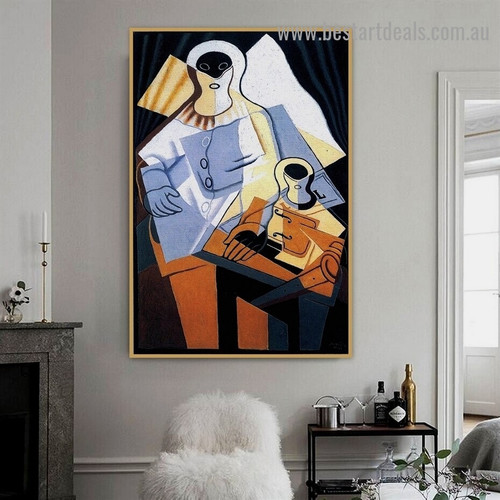 Pierrot II Juan Gris Still Life Synthetic Cubism Reproduction Artwork Portrait Canvas Print for Room Wall Ornament