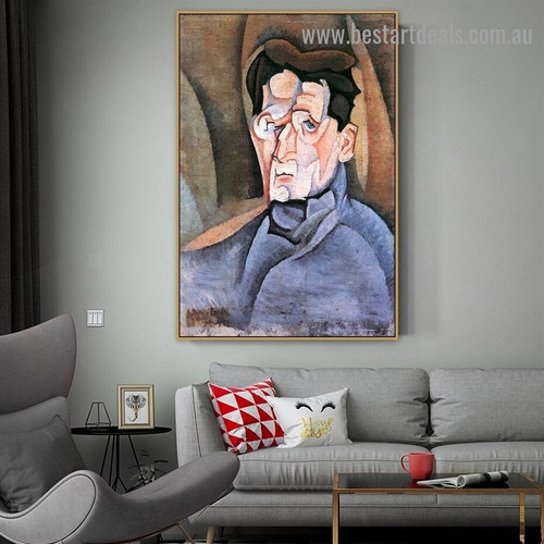 Portrait of Maurice Raynal Juan Gris Figure Analytical Cubism Reproduction Artwork Photo Canvas Print for Room Wall Drape