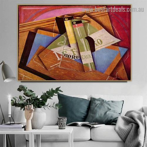 The Bordeaux Bottle Juan Gris Still Life Typography Synthetic Cubism Reproduction Artwork Photo Canvas Print for Room Wall Ornament