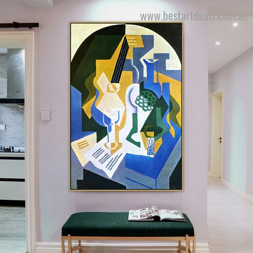 Still Life with Fruit Bowl and Mandolin Juan Gris Synthetic Cubism Reproduction Portrait Photo Canvas Print for Room Wall Garniture