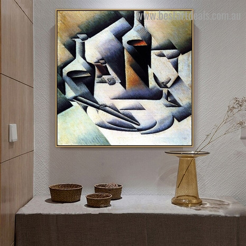 Bottles and Knife Juan Gris Still Life Analytical Cubism Reproduction Artwork Photo Canvas Print for Room Wall Adornment