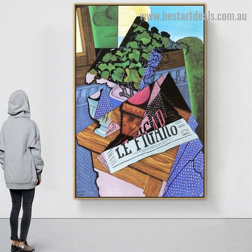 A Pot of Geraniums Juan Gris Still Life Synthetic Cubism Reproduction Portrait Picture Canvas Print for Room Wall Decoration