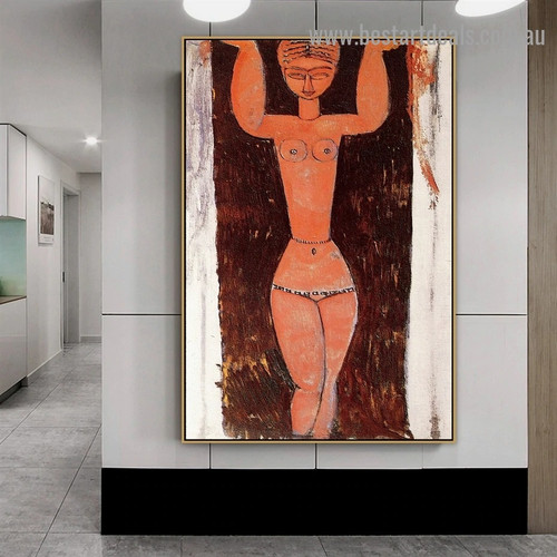 Standing Caryatid Amedeo Clemente Modigliani Nude Expressionism Reproduction Portrait Photo Canvas Print for Room Wall Ornament