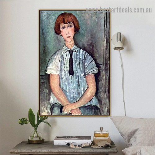 Young Girl in a Striped Shirt Amedeo Clemente Modigliani Figure Expressionism Reproduction Artwork Picture Canvas Print for Room Wall Garniture