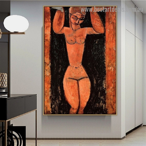 Caryatid Amedeo Clemente Modigliani Nude Expressionism Reproduction Portrait Picture Canvas Print for Room Wall Adornment