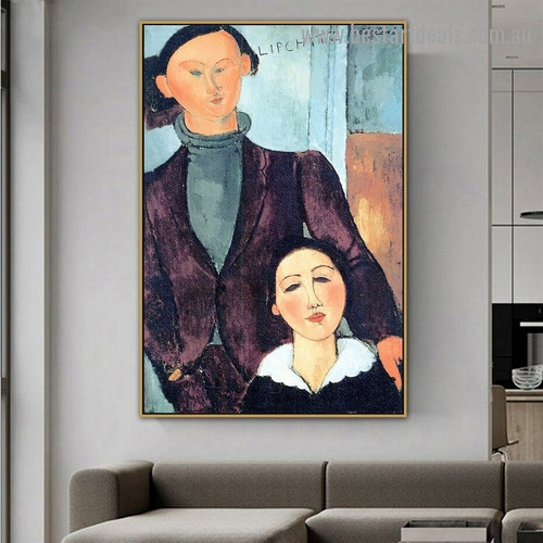 Jacques and Berthe Lipchitz Amedeo Clemente Modigliani Figure Expressionism Reproduction Artwork Picture Canvas Print for Room Wall Garniture