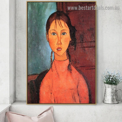 Girl with Pigtails Amedeo Clemente Modigliani Figure Expressionism Reproduction Artwork Image Canvas Print for Room Wall Drape