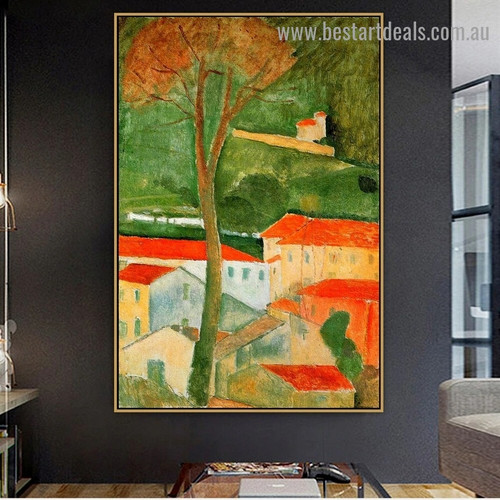 Landscape Amedeo Clemente Modigliani Expressionism Reproduction Portrait Image Canvas Print for Room Wall Decoration