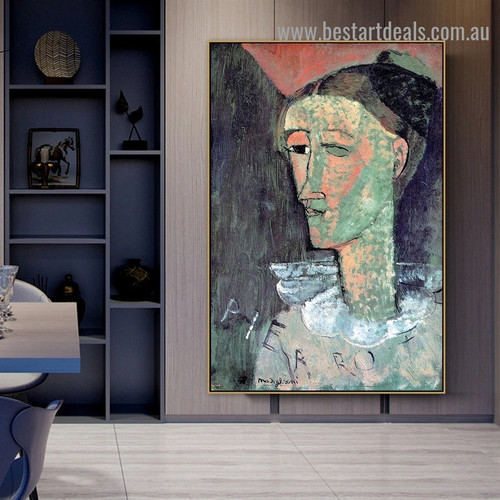 Pierrot Amedeo Clemente Modigliani Figure Expressionism Reproduction Artwork Photo Canvas Print for Room Wall Ornament