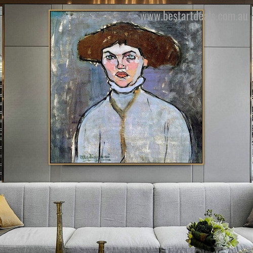 Bust of Young Girl Amedeo Clemente Modigliani Figure Expressionism Reproduction Artwork Picture Canvas Print for Room Wall Garniture
