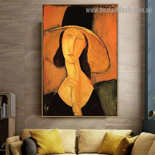 Head of a Woman Amedeo Clemente Modigliani Figure Expressionism Reproduction Portrait Image Canvas Print for Room Wall Garniture