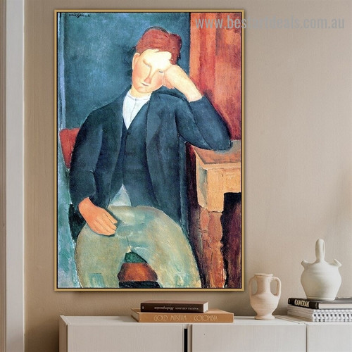 The Young Apprentice Amedeo Clemente Modigliani Figure Expressionism Reproduction Artwork Photo Canvas Print for Room Wall Garnish