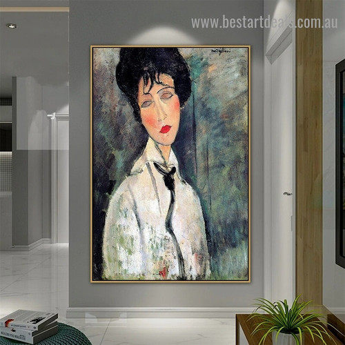 Portrait of a Woman in a Black Tie Amedeo Clemente Modigliani Figure Expressionism Reproduction Artwork Picture Canvas Print for Room Wall Decoration