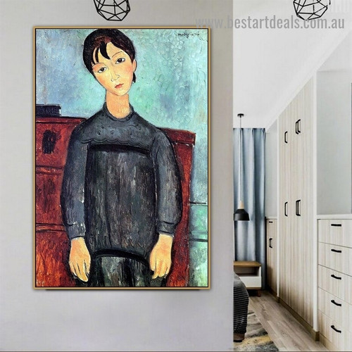 Little Girl in Black Apron Amedeo Clemente Modigliani Figure Expressionism Reproduction Portrait Picture Canvas Print for Room Wall Adornment
