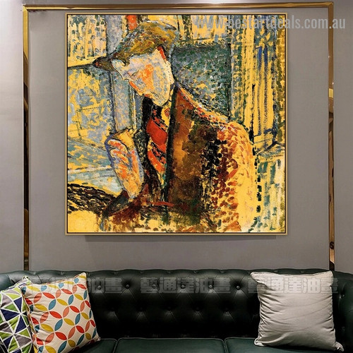 Portrait of Frank Burty Haviland Amedeo Clemente Modigliani Figure Expressionism Reproduction Artwork Photo Canvas Print for Room Wall Adornment