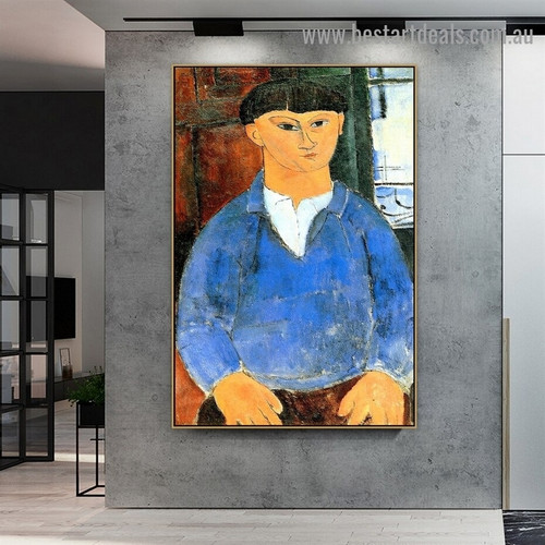 Portrait of Moise Kisling Amedeo Clemente Modigliani Figure Expressionism Reproduction Portrait Image Canvas Print for Room Wall Garniture