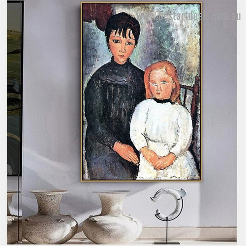 Two Girls Amedeo Clemente Modigliani Figure Expressionism Reproduction Artwork Photo Canvas Print for Room Wall Ornament