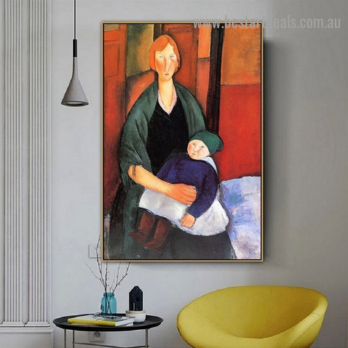 Seated Woman with Child Amedeo Clemente Modigliani Figure Expressionism Reproduction Portrait Painting Canvas Print for Room Wall Adornment