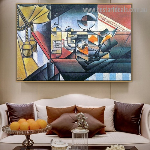 The Watch the Sherry Bottle Juan Gris Still Life Cubism Reproduction Portrait Image Canvas Print for Room Wall Garniture