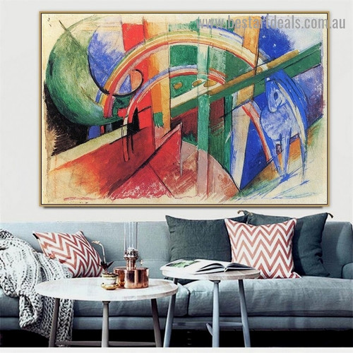 Blue Horse with a Rainbow Franz Moritz Wilhelm Marc Animal Abstract Expressionism Reproduction Artwork Painting Canvas Print for Room Wall Adornment