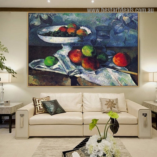 Still Life with Fruit Dish Paul Cézanne Impressionism Reproduction Artwork Photo Canvas Print for Room Wall Adornment