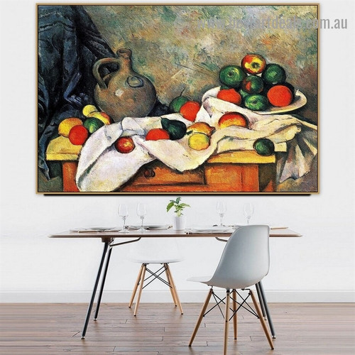 Curtain Jug and Fruit Paul Cézanne Still Life Impressionism Reproduction Artwork Painting Canvas Print for Room Wall Decoration