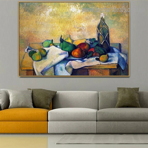 Still Life Bottle of Rum Paul Cézanne Impressionism Reproduction Artwork Photo Canvas Print for Room Wall Ornament