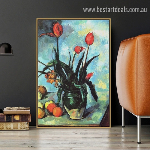 Tulips in a Vase Paul Cézanne Still Life Impressionism Reproduction Artwork Photo Canvas Print for Room Wall Adornment