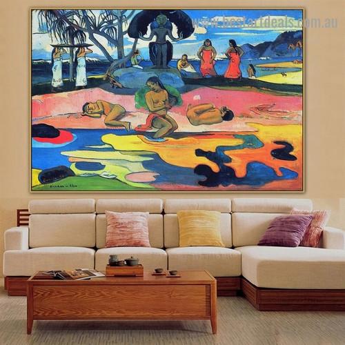 Day of the Gods Eugène Henri Paul Gauguin Nude Landscape Impressionist Artwork Image Canvas Print for Room Wall Garniture