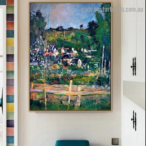 View of Auvers Paul Cézanne Landscape Impressionism Reproduction Artwork Photo Canvas Print for Room Wall Adornment