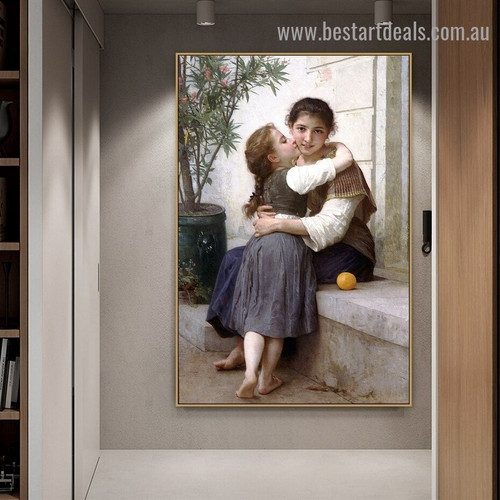 A Little Coaxing William Adolphe Bouguereau Figure Neoclassicism Reproduction Portrait Painting Canvas Print for Room Wall Décor