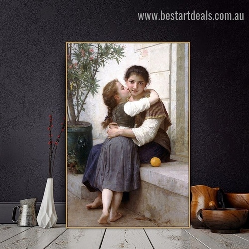 A Little Coaxing William Adolphe Bouguereau Figure Neoclassicism Reproduction Portrait Image Canvas Print for Room Wall Garnish