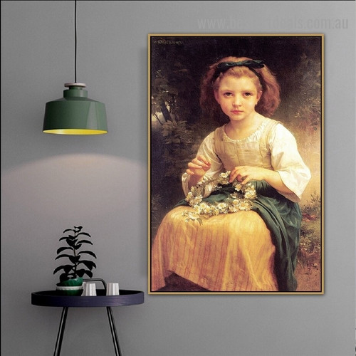 Child Braiding a Crown William Adolphe Bouguereau Figure Neoclassicism Reproduction Artwork Picture Canvas Print for Room Wall Garniture